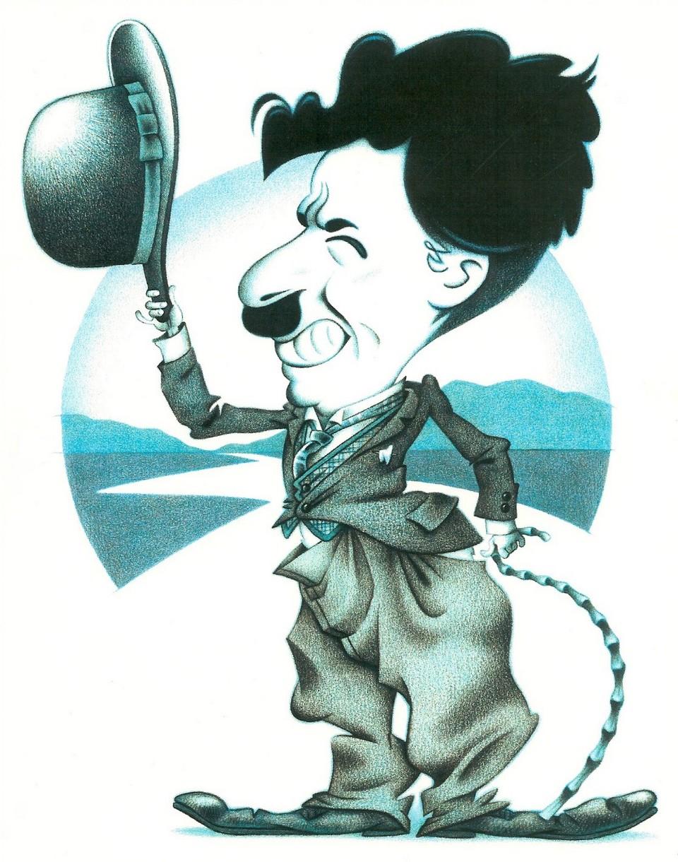 Charlie chaplin'i betimleyen bir karikatür